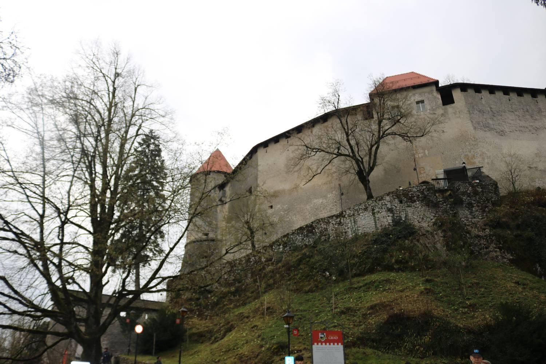 Auf einem Plateau über dem See liegt die Burg von Bled.
