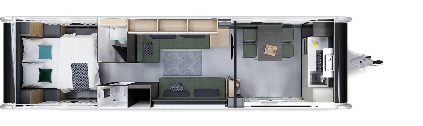 Luxuriöser Wohnwagen für bis zu sechs Personen